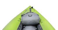 green inflatable whitewater kayak