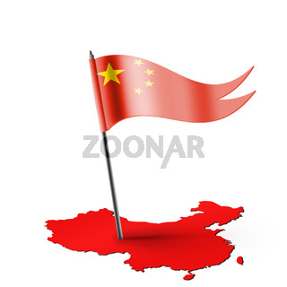 China map with Chinese national flag