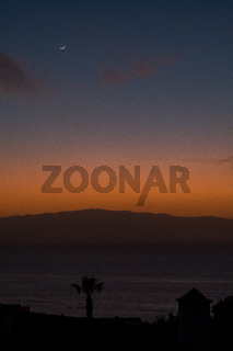 beautiful view on la gomera island and sky while sunset