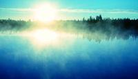 Spectacular dawn (positive mood), time of fog birth.