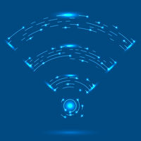 GPRS Logo. Radio Wave Icon. Wireless Network Symbol on Blue Background. Mobile Conceptual Emblem