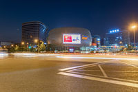 Commercial mall and crossroad at night in Chengdu, China