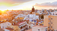 Sunset panorama of Valencia downtown