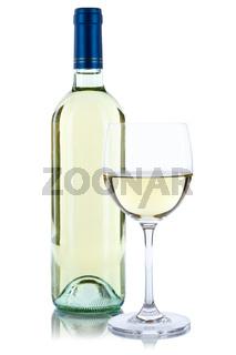Wein Flasche Glas Weinflasche Weinglas Weißwein Weisswein freigestellt Freisteller