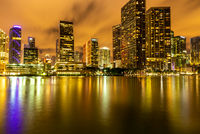 Night light view of Miami downtown buildings