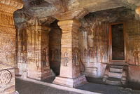 Cave 4 : Interior view. The figure of Mahavira in the sanctum is partially seen, Jaina Tirthankara images engraved on the pillars and on the walls are also seen.