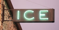 Blue Green Neon Simple Rusty Metal Sign Says Ice