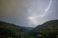 Lightning over hills