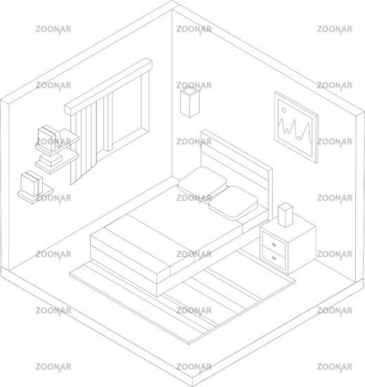 Isometric bedroom outline illustration. Vector flat illustration.