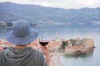 Drinkin wine in Budva