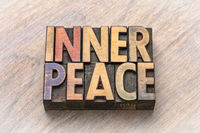 inner peace word abstract in wood type