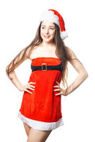 young woman dressed as miss santa in christmas costume