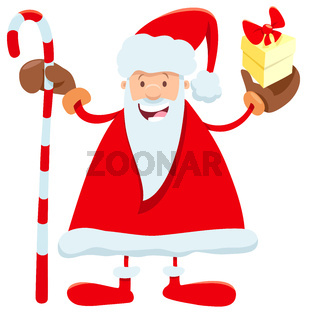 funny Santa Claus cartoon character with cane