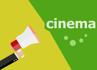 cinema word. Hand holding a megaphone. flat style