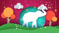 Cartoon paper landscape. Elephant illustration.