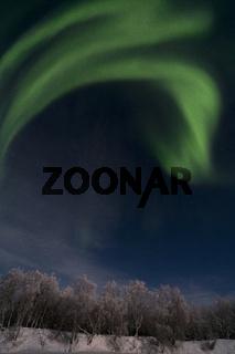 Nordlicht ueber dem Fluss Muonioaelven, Karesuando, Lappland