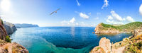 Sea panorama of the coast of Balaklava Bay, Crimea
