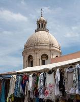 Street market in Santa Clara street in Alfama district of Lisbon