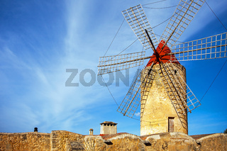 An old windmill in Algadia Mallorca Spain