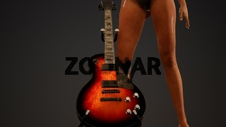Rock and roll woman with an electric guitar and wearing a bikini