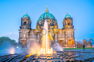 Berliner Dom in Berlin city, Germany at night on Museum Island in the Mitte borough