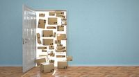 Opened Door Shipping Parcels Home Shipping