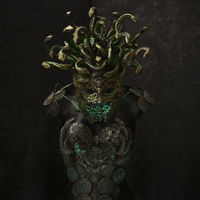 Legend Medusa, creature of Greek mythology. pieces made by hand with goldsmiths and metals such as gold and copper. wears a helmet of green and gold snakes