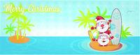 fun santa claus cartoon on island with surf. banner