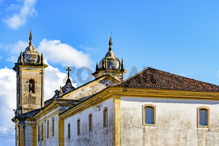 Back view of ancient catholic church in the city of Ouro Preto