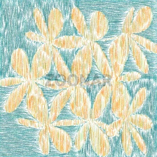 Child's Drawing Style Flowers Closeup