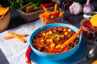 chili con carne with sweet potato and spicy nachos