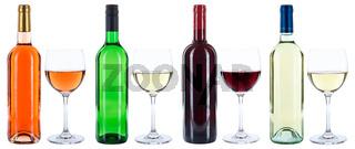 Wein Weinflaschen Weinglas Flaschen Glas Rotwein Weißwein Weisswein Rosewein Rose freigestellt Freisteller