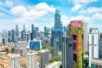Aerial cityscape of Singapore metropolis