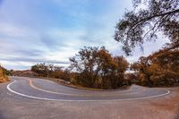 Winding road located in Fallbrook at dusk