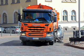 Scania P430 Road Sweeper Cleans City Street