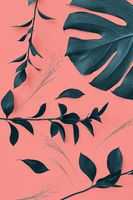 Decorative pattern with evergreen leaves of Monstera plant on a Living Coral color background. Top view.