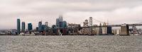 Long Panoramic View San Francisco Bay Bridge City Skyline