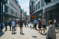 People Stroget shopping street Copenhagen