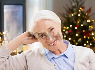 happy senior woman face at home