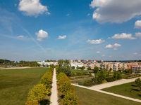 Aerial view on Scharnhauser Park near Stuttgart, Germany