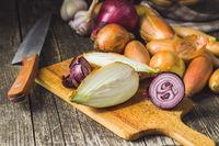 Halved fresh onions