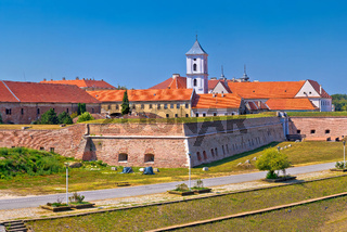Tvrdja old town walls and Drava river walkway in Osijek panoramic view