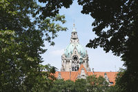 New City Hall in Hannover Germany framed by trees