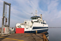 Holbaek, DENMARK - October 2018: The ferry going from Holbaek to Oroe, ferry terminal at the bay in Holbaek