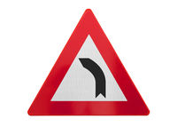 Traffic sign isolated - Curve left