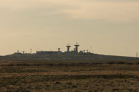 Antenna at the spaceport. The tracking center at the Baikonur cosmodrome, a signaling station launching rockets. Space technology