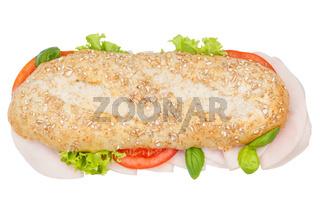 Brötchen Sandwich Vollkorn Baguette belegt mit Schinken von oben freigestellt Freisteller