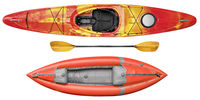whitewater kayaks and paddle isolated