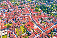 Town of Varazdin historic center aerial view