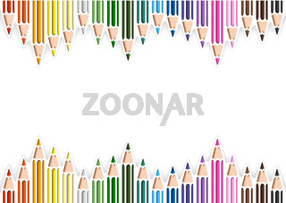 Colorful Pencils in Cutout Style on White